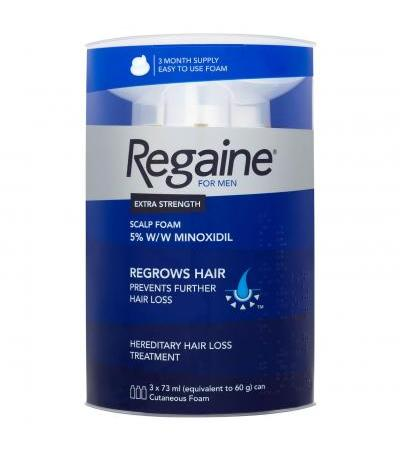 Regaine for Men Extra Strength Hair Regrowth Foam 3 x 60 g